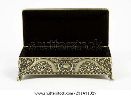 gold casket on a white background - stock photo