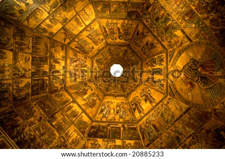 Gold ceiling of the Baptistry of the Duomo, central cathedral of Florence, Italy. - stock photo