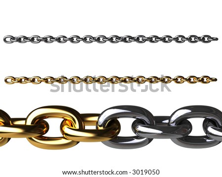 Gold chain and chromeplated chain