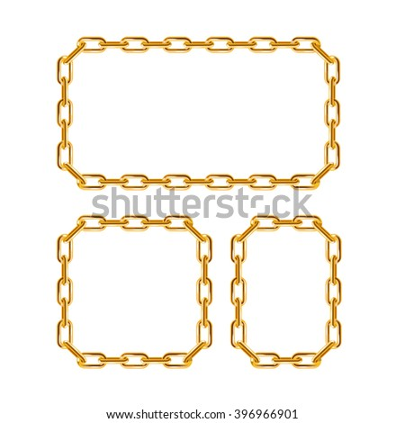 Gold Chain Frames. Different Sizes. illustration - stock photo