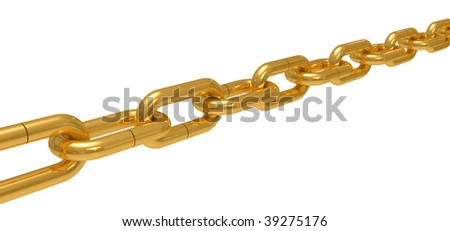 Gold chain isolated on a white background - stock photo