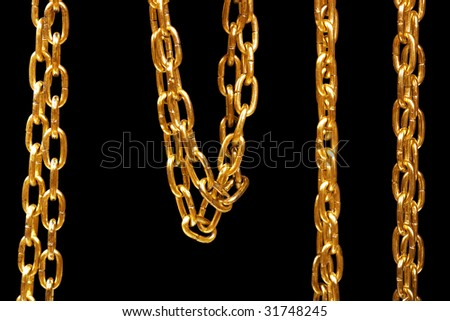 Gold chain isolated on black.
