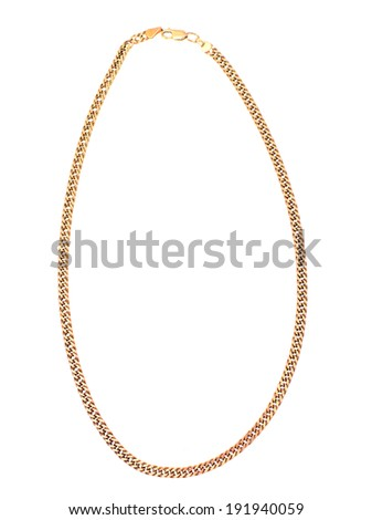 Gold Chain Jewelry. Isolated on White Backgorund. - stock photo