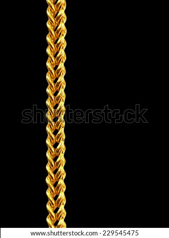 Gold chain necklace isolated on black, closeup , clipping path. - stock photo