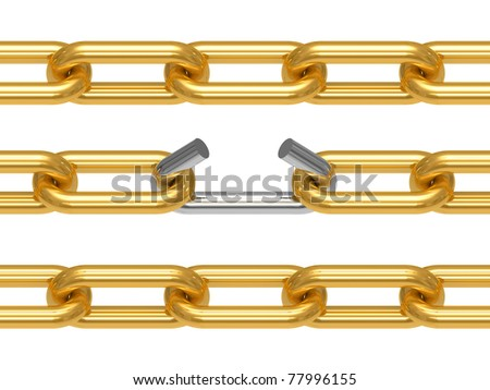 Gold chain with the broken off link, the concept of work of a command, drawing it is isolated on a white background - stock photo