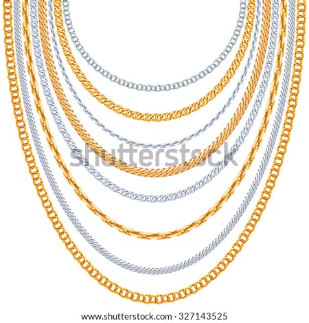 Gold chains - stock photo