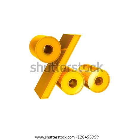 Gold Character Collection. Percentage symbol - stock photo