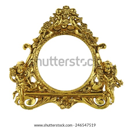 Gold Cherub Picture Frame - stock photo