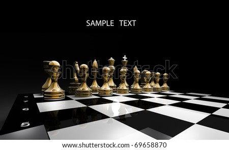 Gold chess on a black background 3d render - stock photo