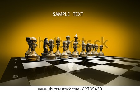 Gold chess on a orange background 3d render - stock photo