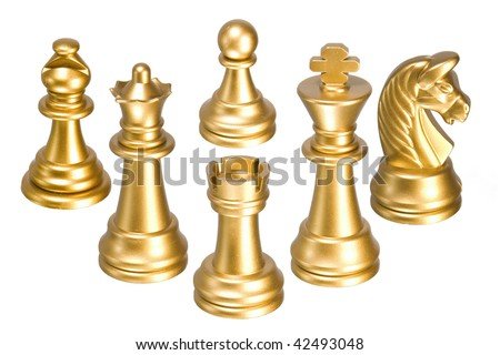 Gold chessmen isolated on a white background