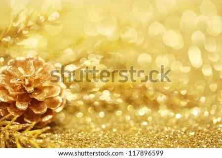 Gold Christmas background - stock photo