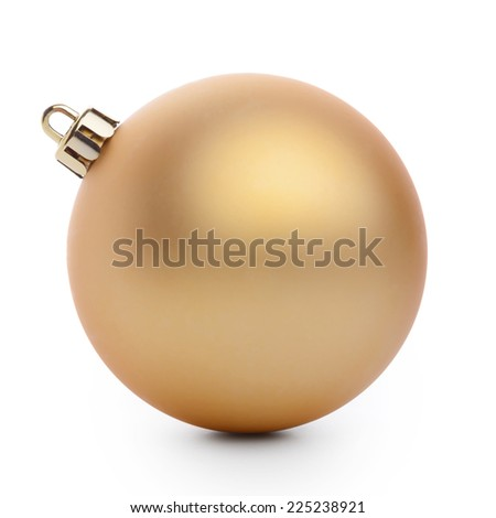 Gold christmas ball isolated on white background - stock photo