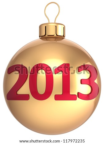 Gold Christmas ball New 2013 Year bauble lucky calendar date of future. New Year's Eve winter decoration classic. Merry Xmas time greeting card. Detailed 3d render. Isolated on white background - stock photo