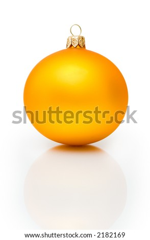 Gold Christmas ball on isolated white  with delicate reflection - stock photo