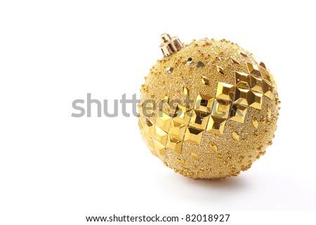 Gold Christmas ball on white background - stock photo