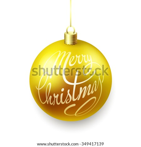 Gold Christmas balls isolated on white background with Merry Christmas lettering.  Raster copy - stock photo