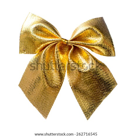 Gold Christmas bow close up isolated on a white background - stock photo