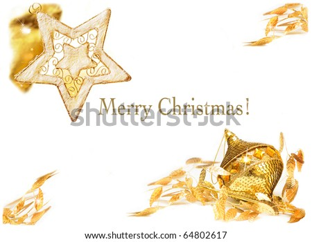 Gold christmas collage on white background - stock photo
