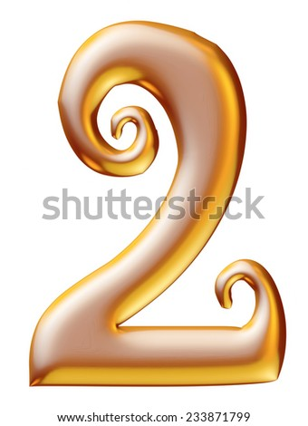 Gold Christmas Digit number 2 - stock photo