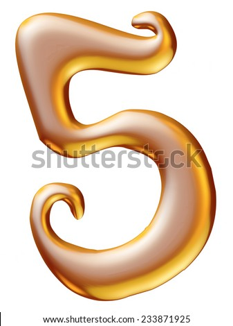 Gold Christmas Digit number 5 - stock photo