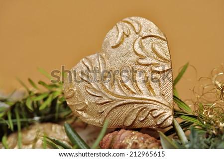 gold christmas heart, advent wreath - stock photo