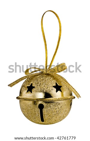 Gold Christmas Jingle Bell isolated on white background - stock photo