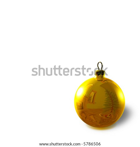 Gold Christmas Ornament with reflection of a holiday decorated room