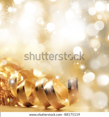 Gold christmas ribbon - stock photo