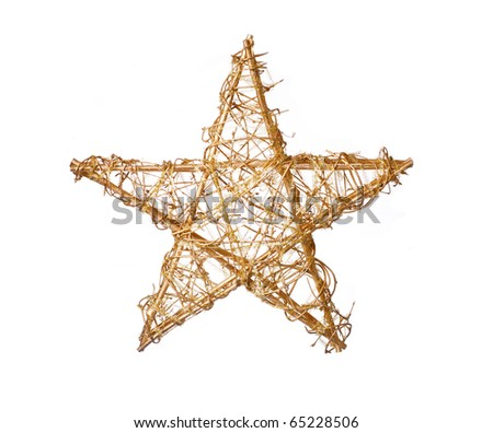 Gold christmas star isolated on white, a lot of copyspace available - stock photo