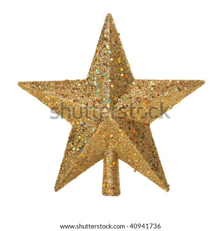 Gold Christmas star with clipping path isolated on white - stock photo