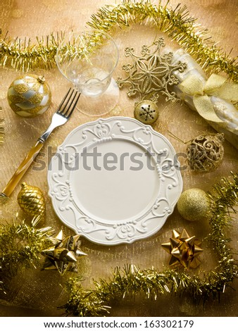 gold christmas table - stock photo