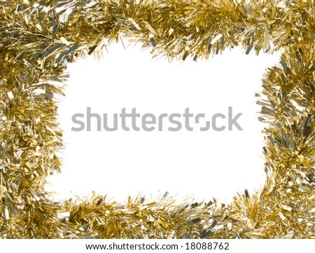Gold Christmas tinsel garland, forming a rectangular frame with center copy space, isolated on white background (isolation done in-camera) - stock photo