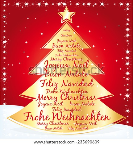 Gold christmas tree with best wishes in several languages. Greeting card. - stock photo
