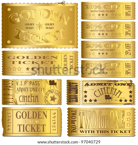 Gold cinema and sale ticket vectors - stock photo