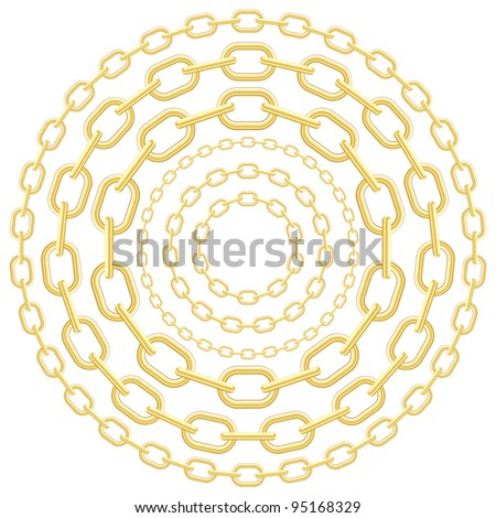 Gold circle chains isolated on white background. - stock photo