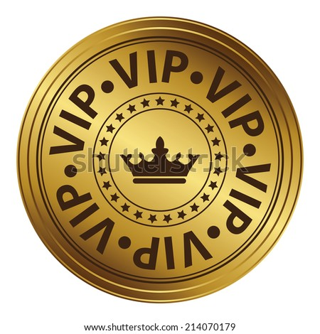 Gold Circle Metallic Style VIP Icon, Label or Sticker Isolated on White Background  - stock photo