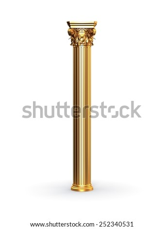 Gold Classic Corinthian Column - stock photo