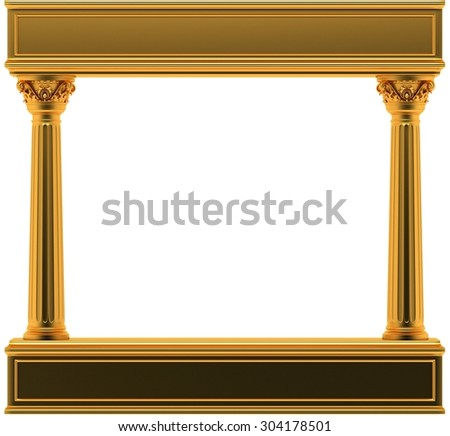 Gold Classic Corinthian Pillars Arc - stock photo