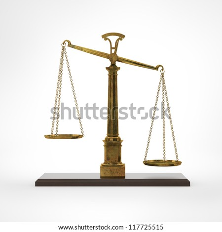 Gold classic scales of justice - stock photo