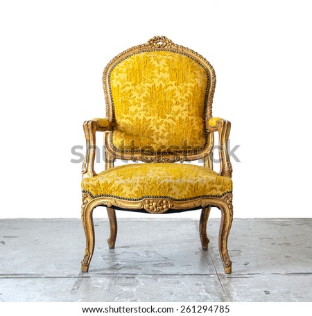 gold classical style Armchair sofa couch in vintage room - stock photo