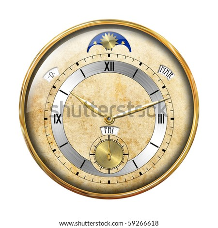 Gold clock isolated on white - stock photo