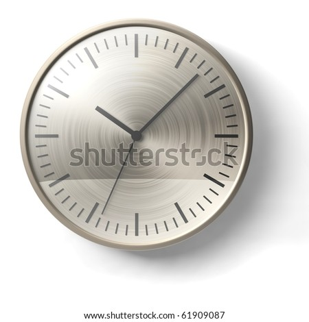gold clock on white wall - stock photo
