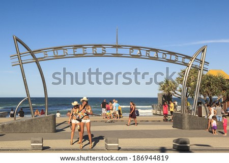 GOLD COAST  APRIL 5: Meter Maids and the beautiful girls are not the only attraction on Gold Coast where  millions visiting Surfers Paradise annually  Queensland, Australia  2014.  - stock photo