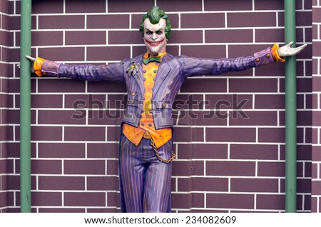 GOLD COAST, AUS -  NOV 06 2014:The Joker in Movie World Gold Coast Australia.It's one of the most iconic characters in popular culture and the greatest comic book fictional villain ever created. - stock photo