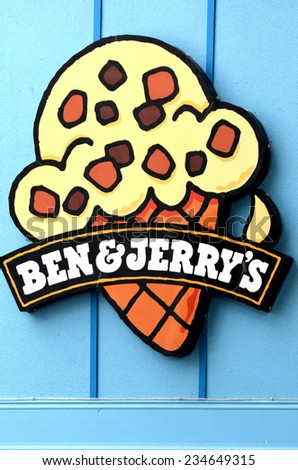 GOLD COAST, AUS - OCT 30 2014:Ben & Jerry's billboard.In 2013, Ben & JerryÃ?Â??s committed to making their products GMO-free in support of mandatory GMO labeling legislation - stock photo