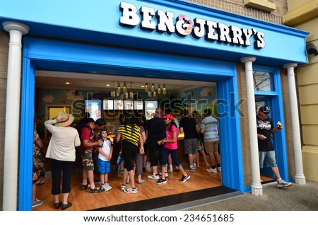 GOLD COAST, AUS - OCT 30 2014:Ben & Jerry's ice cream store in Movie world Gold coast.In 2013 Ben & Jerrys committed to making their products GMO-free in support of mandatory GMO labeling legislation - stock photo