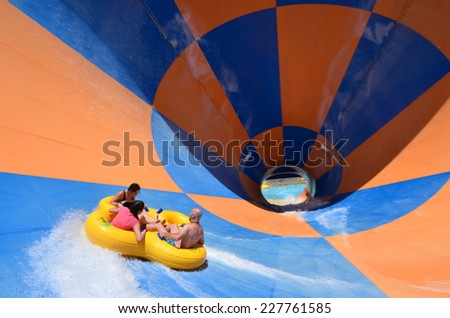 GOLD COAST, AUS - OCT 30 2014:Visitors in Wet'n'Wild Gold Coast water park. In 2009, the park received 1,095,000 visitors ranking it first in Australia and eighth in the world - stock photo