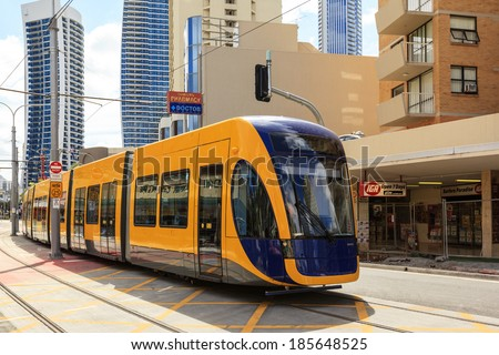 GOLD COAST AUSTRALIA - April 5: Brand new light rail on test run (not yet open for the public), under commissioning at Surfers Paradise on April 5, 2014 Australia  - stock photo