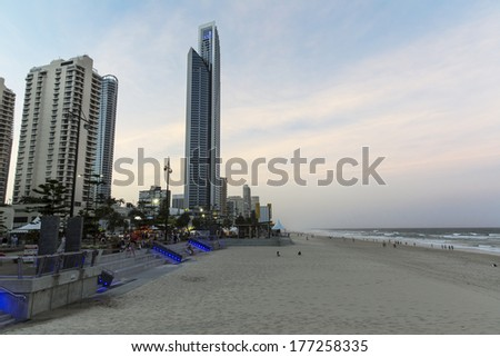 GOLD COAST, AUSTRALIA - FEBRUARY 16 2014: Gold Coast City, Surfers Paradise sunset cityscape with Soul building and famous beach